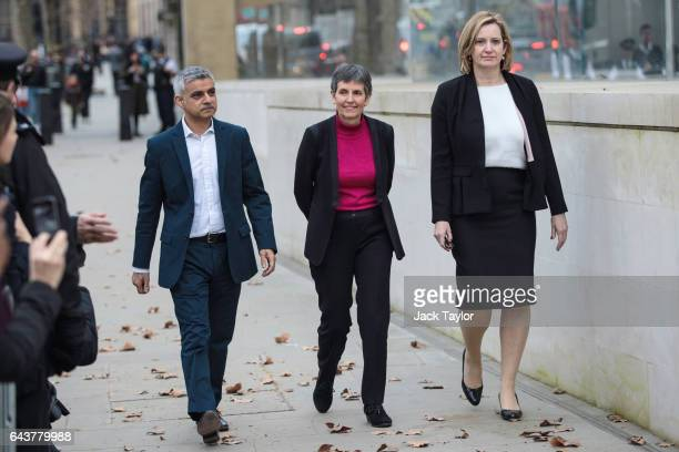 Mayor of London Sadiq Khan Met Commissioner Cressida Dick and Home Secretary Amber Rudd walk towards the assembled media outside the Curtis Green...