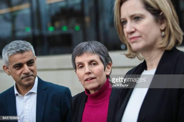 Mayor of London Sadiq Khan Met Commissioner Cressida Dick and Home Secretary Amber Rudd address the assembled media outside the Curtis Green Building...