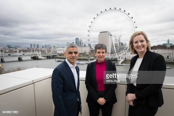 Mayor of London Sadiq Khan newly appointed Metropolitan Police commissioner Cressida Dick and Home Secretary Amber Rudd pose for a photo at New...