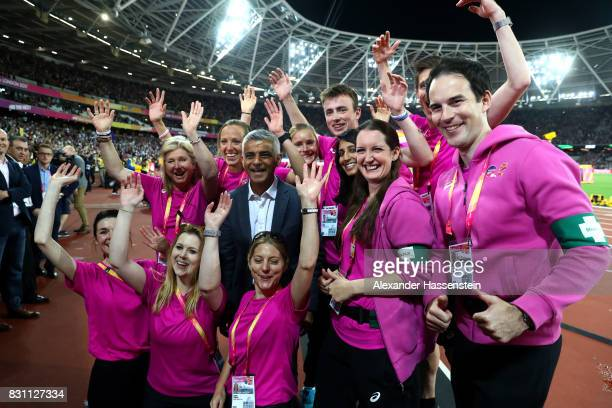Mayor of London Sadiq Khan poses for photos with voulenteers during day ten of the 16th IAAF World Athletics Championships London 2017 at The London...
