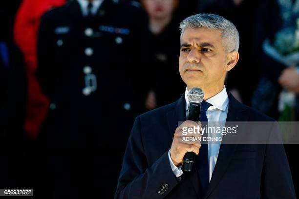 Mayor of London Sadiq Khan speaks during a vigil in Trafalgar Square in central London on March 23 2017 in solidarity with the victims of the March...