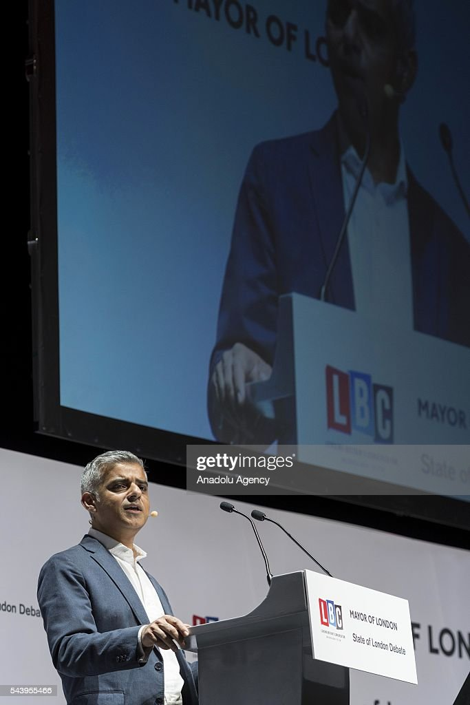 Mayor of London Sadiq Khan takes part in the annual State of London Debate in London, United Kingdom on June 30, 2016.