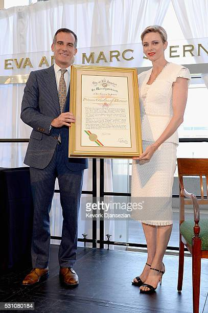 Mayor of Los Angeles Eric Garcetti and Her Serene Highness Princess Charlene of Monaco attend the Blue Ribbon of the Los Angeles Music Center to...