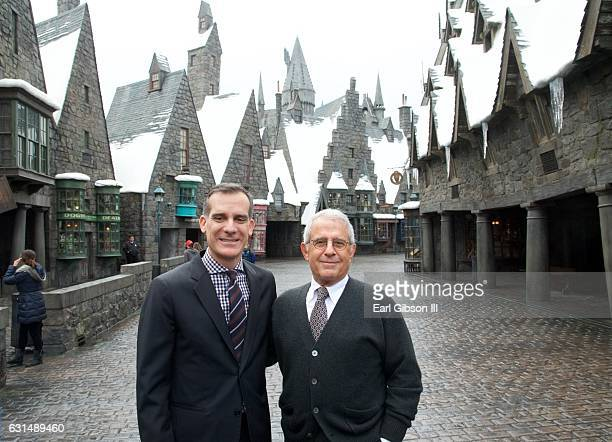 Mayor of Los Angeles Eric Garcetti and Vice Chairman NBCUniversal Ron Meyer pose for a photo before their press conference to announce the 2016 LA...