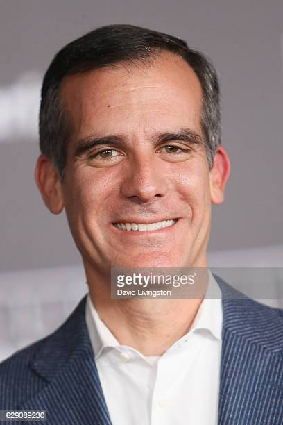 Mayor of Los Angeles Eric Garcetti arrives at the premiere of Walt Disney Pictures and Lucasfilm's 'Rogue One A Star Wars Story' at the Pantages...