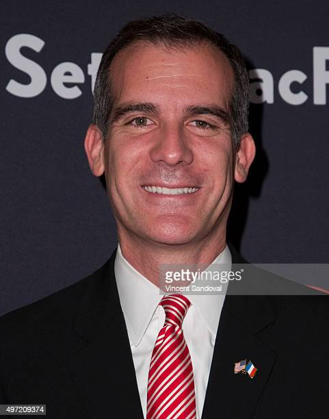 Mayor of Los Angeles Eric Garcetti attends The Grove Christmas with Seth MacFarlane at The Grove on November 14 2015 in Los Angeles California