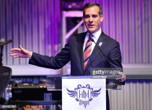 Mayor of Los Angeles Eric Garcetti attends william's iamangel Foundation TRANS4M 2017 Gala at Milk Studios on February 9 2017 in Hollywood California