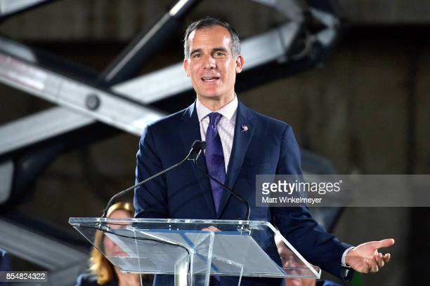 Mayor of Los Angeles Eric Garcetti speaks onstage during the Academy Museum of Motion Pictures press briefing and site tour at Academy Museum of...