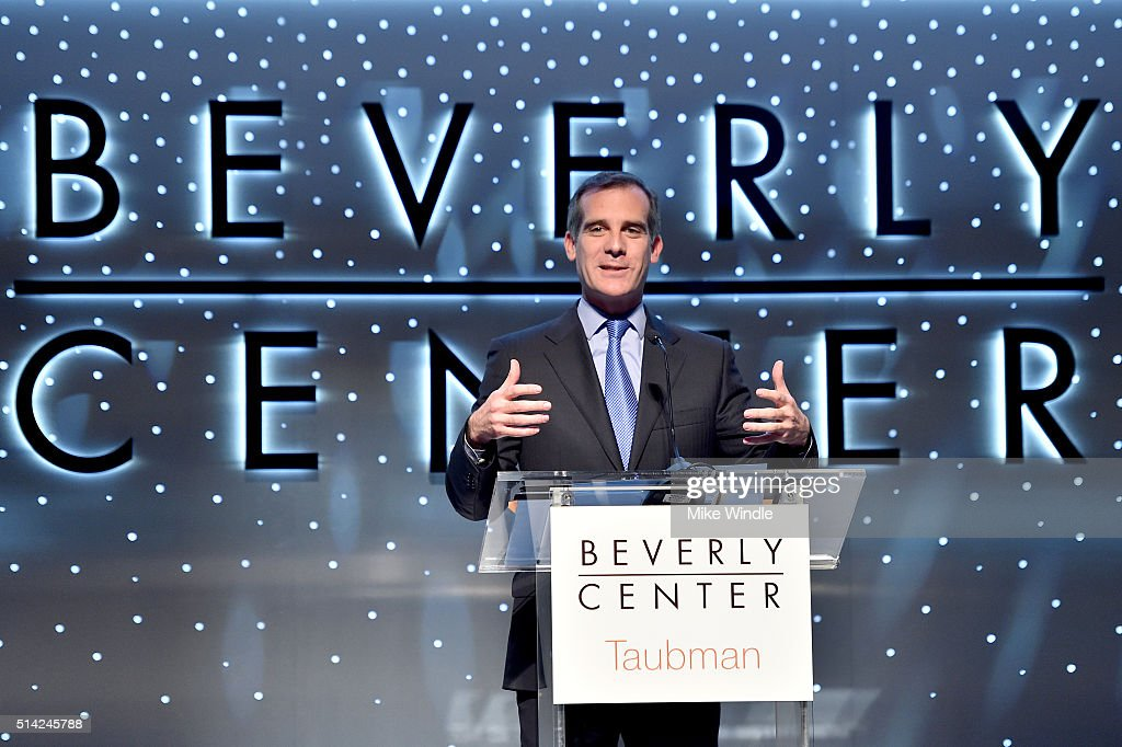 Mayor of Los Angeles <a gi-track='captionPersonalityLinkClicked' href=/galleries/search?phrase=Eric+Garcetti&family=editorial&specificpeople=635706 ng-click='$event.stopPropagation()'>Eric Garcetti</a> speaks onstage during the renovation announcement of the Reimagined Beverly Center on March 7, 2016 in Los Angeles, California.
