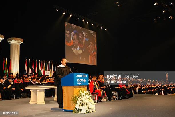 Mayor of Los Angeles Mr Antonio R Villaraigosa attends the American University Dubai 2013 Graduation Ceremony on May 12 2013 in Dubai United Arab...