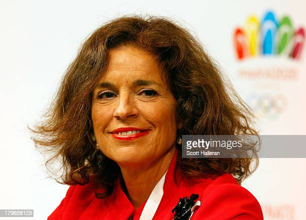 Mayor of Madrid Ana Botella looks on during a Madrid 2020 Bid Committee press conference ahead of the 125th IOC Session at NH City Tower Hotel on...
