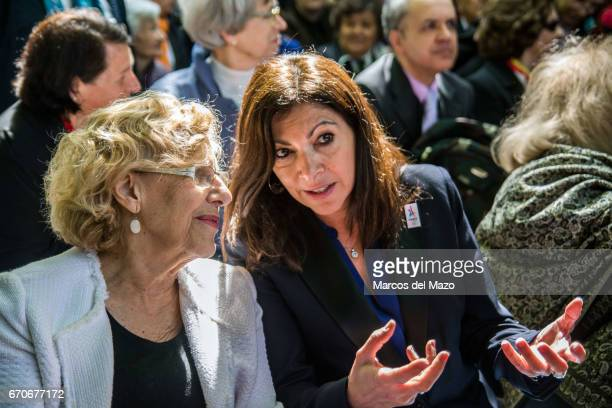 Mayor of Madrid Manuela Carmena and Mayor of Paris Anne Hidalgo during the commemoration of the Garden of the fighters of 'The Nine' the battalion of...