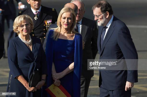 Mayor of Madrid Manuela Carmena President of the Community of Madrid Cristina Cifuentes and Spanish Prime Minister Mariano Rajoy attend the National...