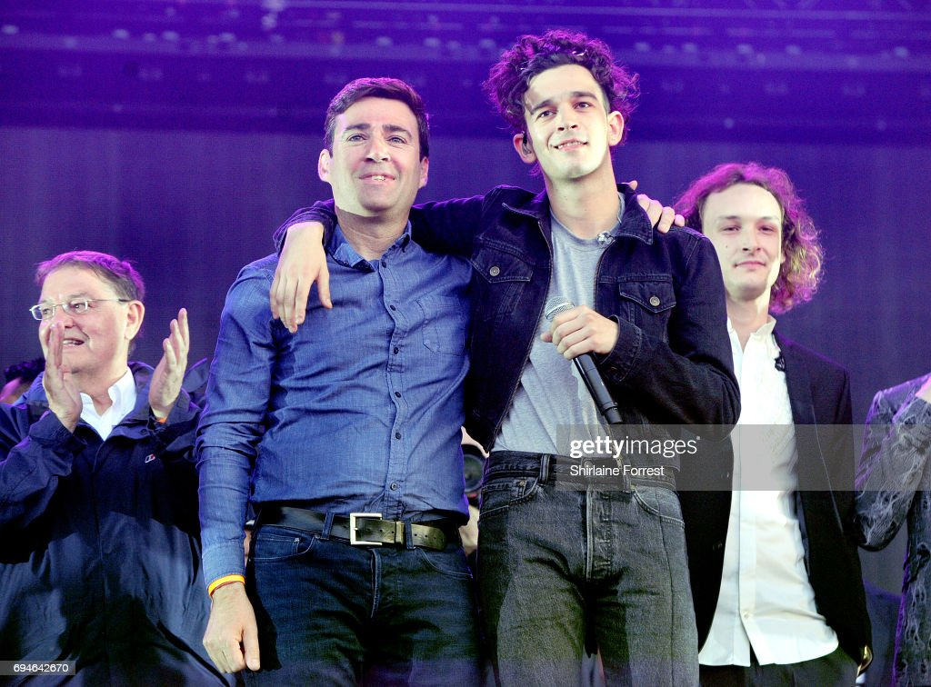 Mayor of Manchester Andy Burnham and Matthew Healy of The 1975 address the crowd giving a speech for strength regarding the Manchester attack, before leading 'one minute of noise' at Parklife Festival 2017 at Heaton Park on June 10, 2017 in Manchester, England.
