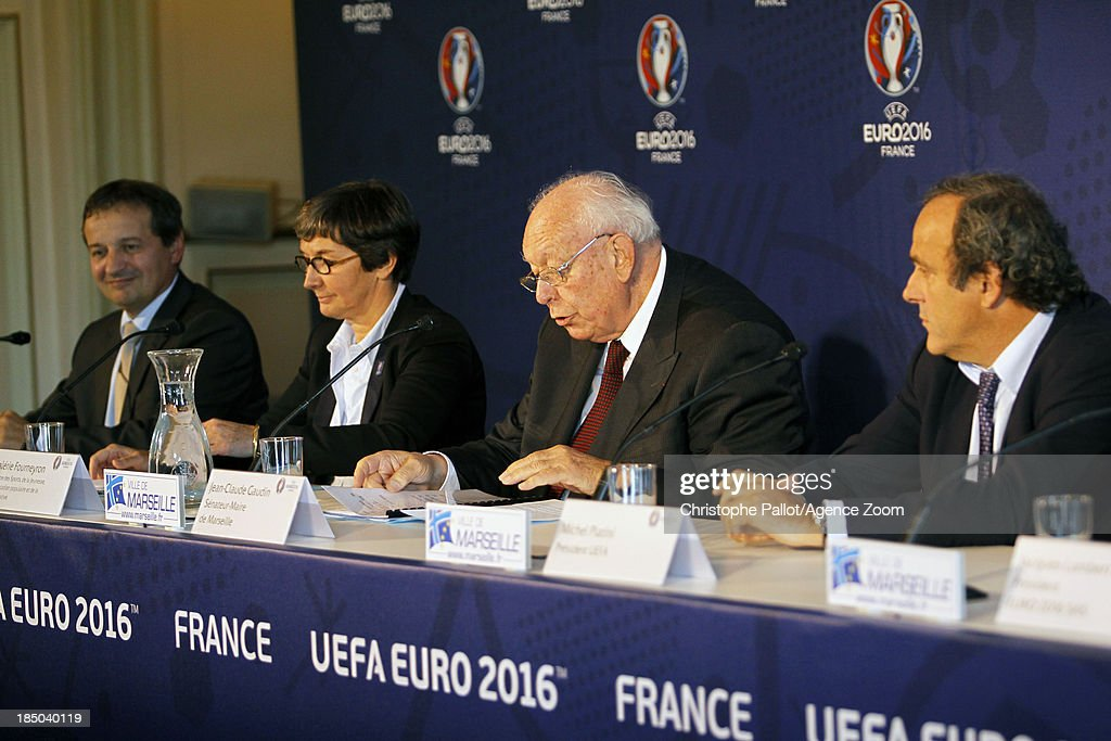 Mayor of Marseille Jean Claude Gaudin speaks during the EURO 2016 Steering Committee Meeting, on October 17, 2013 in Marseille, France.
