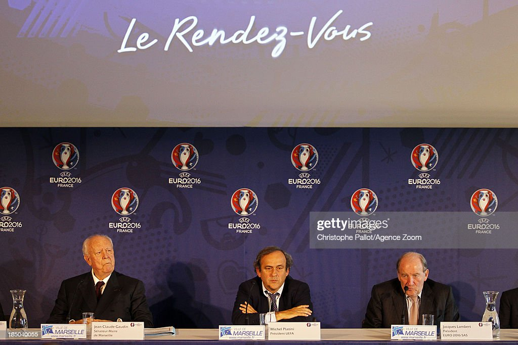 Mayor of Marseille Jean Claude Gaudin, UEFA President Michel Platini, President of the Euro 2016 SAS Jacques Lambert during the EURO 2016 Steering Committee Meeting, on October 17, 2013 in Marseille, France.