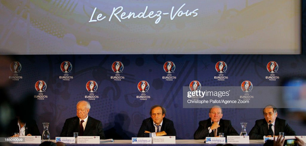 Mayor of Marseille Jean Claude Gaudin, UEFA President <a gi-track='captionPersonalityLinkClicked' href=/galleries/search?phrase=Michel+Platini&family=editorial&specificpeople=206862 ng-click='$event.stopPropagation()'>Michel Platini</a>, President of the Euro 2016 SAS <a gi-track='captionPersonalityLinkClicked' href=/galleries/search?phrase=Jacques+Lambert&family=editorial&specificpeople=5567008 ng-click='$event.stopPropagation()'>Jacques Lambert</a>, President of the French Football Federation Noel le Graet during the EURO 2016 Steering Committee Meeting, on October 17, 2013 in Marseille, France.