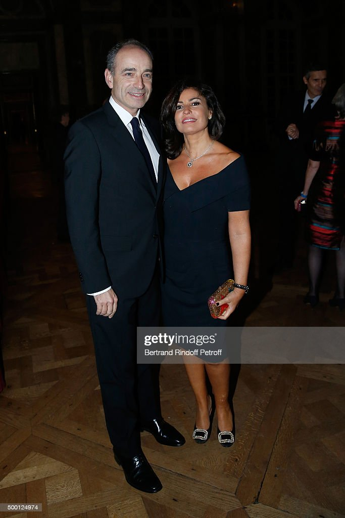 Mayor of Meaux, Jean-Francois Cope and Nadia d'Alincourt attend the 'France-USA' Gala Dinner at Chateau de Versailles on December 5, 2015 in Versailles, France.
