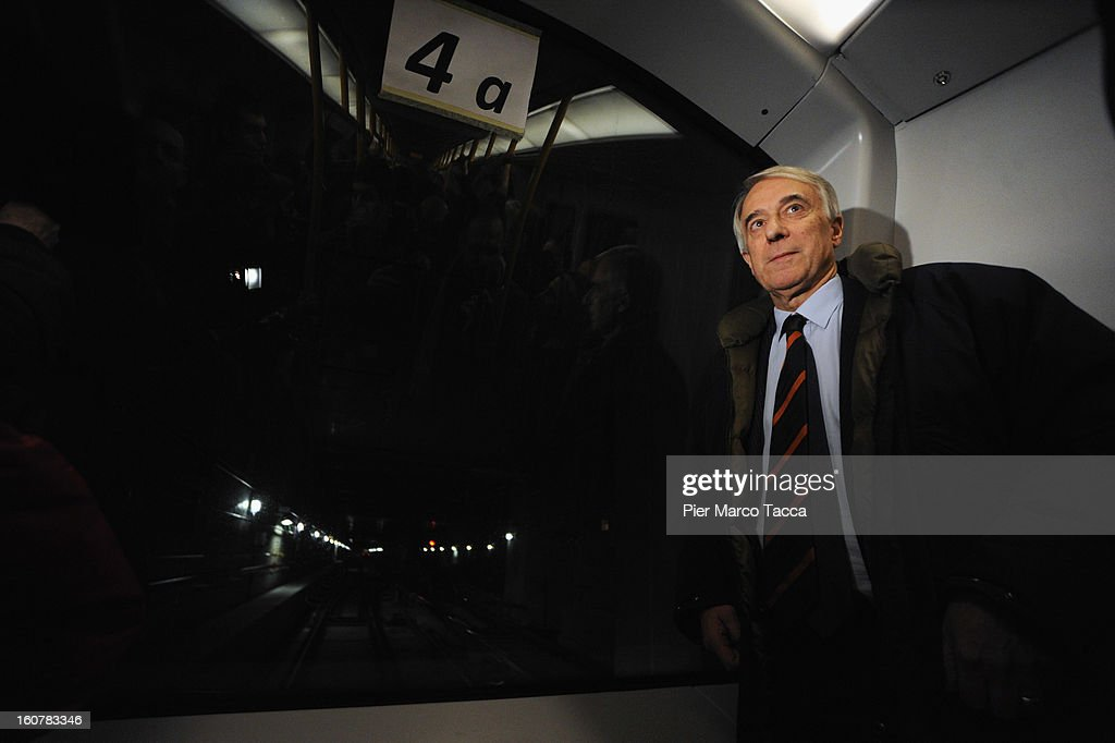 Mayor of Milan Giuliano Pisapia attends a press preview of the new underground line (linea M5) on February 5, 2013 in Milan, Italy. The new metropolitan line M5 is the first line to Milan without train operator and every train it is able to transport up to 536 people.