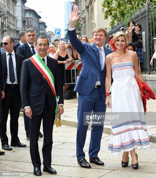 Mayor of Milan Giuseppe Sala King WillemAlexander and Queen Maxima of The Netherlands arrive for the visit at the Cenacolo Vinciano in the Refectory...