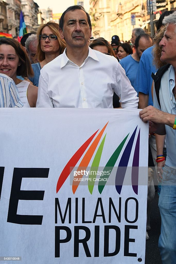 Mayor of Milan Giuseppe Sala takes part in the annual Lesbian, Gay, Bisexual and Transgender (LGBT) Pride Parade in Milan, on June 25, 2016. / AFP / GIUSEPPE