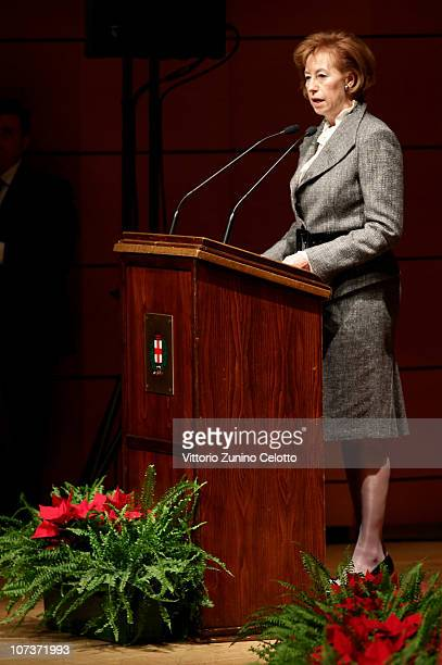Mayor of Milan Letizia Moratti speaks during the Ambrogino D'Oro 2010 held at Teatro Dal Verme on December 7 2010 in Milan Italy The Ambrogino D'Oro...