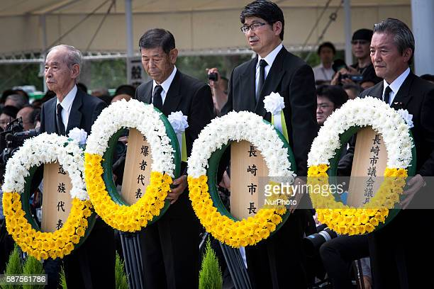 Mayor of Nagasaki representatives of bereaved families and representatives of Atomic bomb survivors lays wreath for the atomic bomb victims in front...