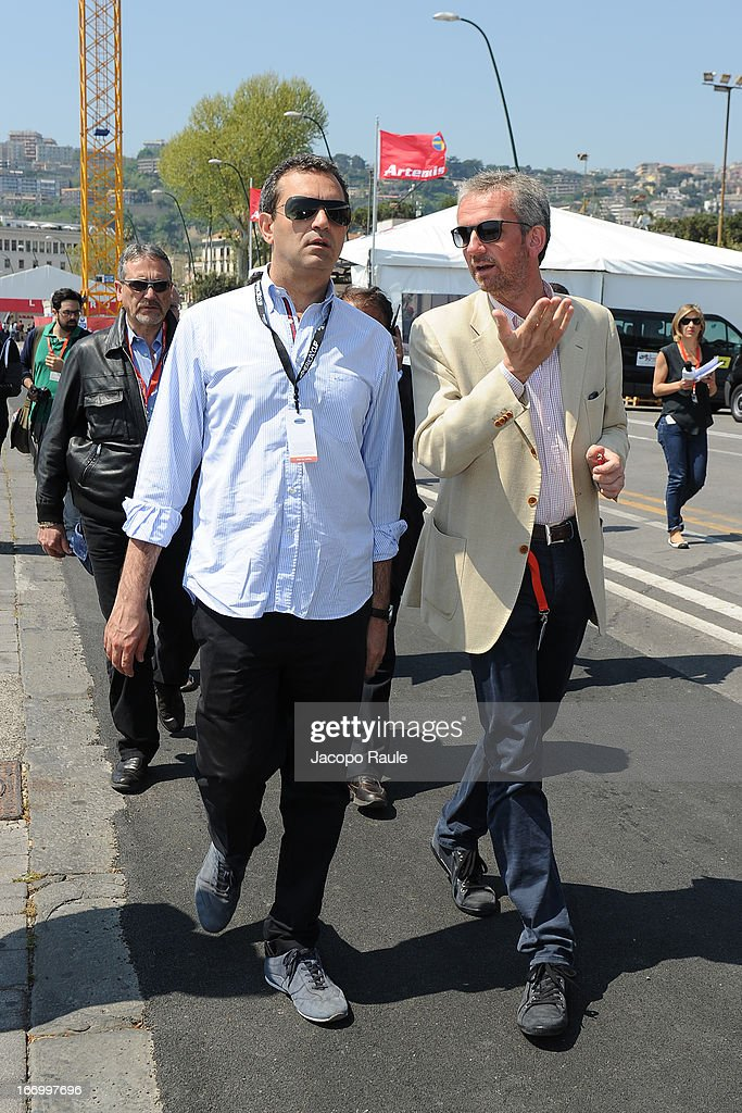 Mayor of Naples, Luigi de Magistris and Mario Hubler attends America's Cup World Series Naples on April 19, 2013 in Naples, Italy.