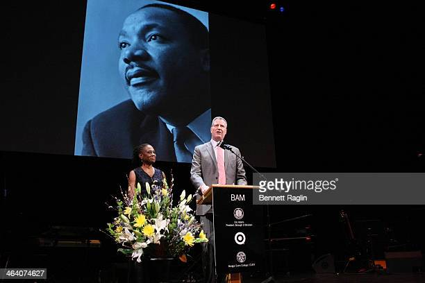 Mayor of New York Bill de Blasio and wife Chirlane McCray attend the 28th annual Brooklyn tribute to Dr Martin Luther King Jr at BAM Howard Gilman...