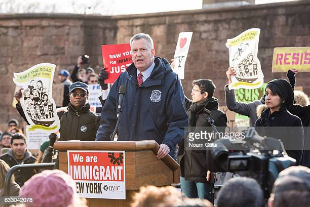 Mayor of New York City Bill de Blasio attends a rally to protest the executive order that President Donald Trump signed clamping down on refugee...