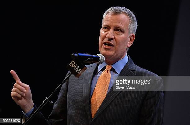 Mayor of New York City Bill De Blasio attends BAM's 30th Annual Tribute To Dr Martin Luther King Jr at BAM Howard Gilman Opera House on January 18...