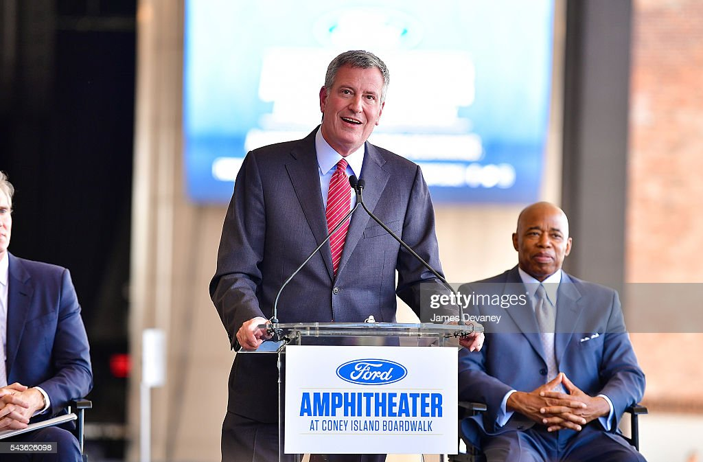 Mayor of New York City Bill de Blasio attends ribbon cutting ceremony at The Amphitheater at Coney Island Boardwalk on June 29, 2016 in the Brooklyn borough of New York City.