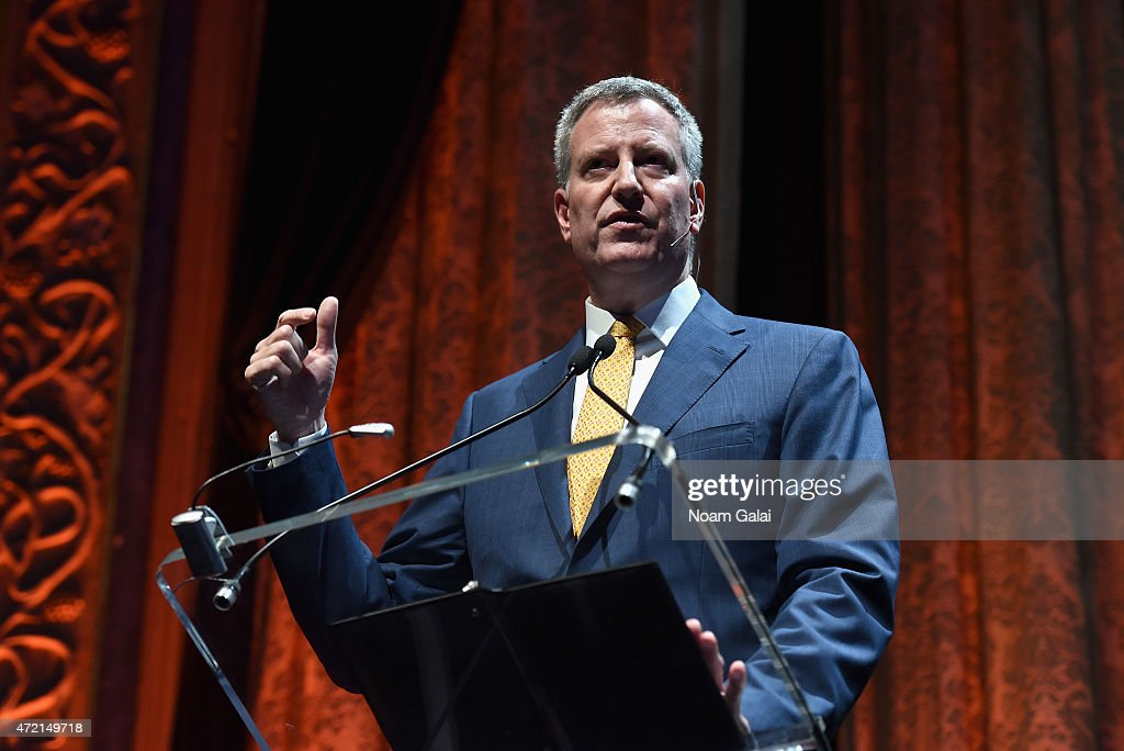 Mayor of New York City Bill de Blasio speaks during TechCrunch Disrupt NY 2015 Day 1 at The Manhattan Center on May 4 2015 in New York City
