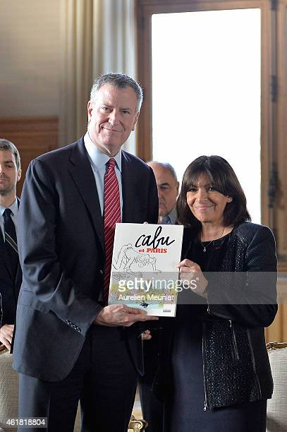 Mayor of New York City Bill de Blasio visits the Hotel de Ville to meet with Paris Mayor Anne Hidalgo for talks following the recent terrorist...