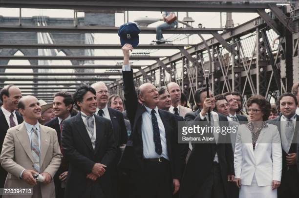 Mayor of New York City Ed Koch and Borough President of Manhattan Andrew Stein among the dignitaries at the dedication of Brooklyn Bridge on its...