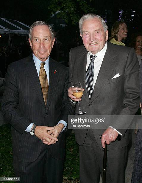 Mayor of New York City Michael Bloomberg and David Rockefeller attend 2010 MoMA Party in the Garden benefit at The Museum of Modern Art on May 25...
