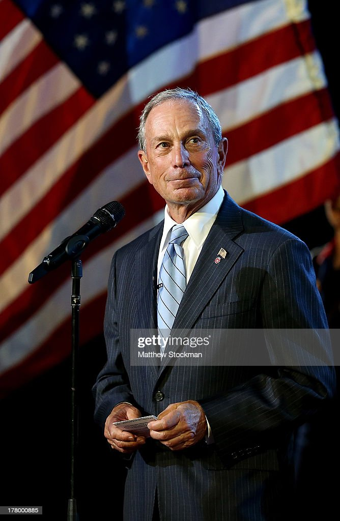 Mayor of New York City <a gi-track='captionPersonalityLinkClicked' href=/galleries/search?phrase=Michael+Bloomberg&family=editorial&specificpeople=171685 ng-click='$event.stopPropagation()'>Michael Bloomberg</a> speaks on stage during the opening ceremony during Day One of the 2013 US Open at USTA Billie Jean King National Tennis Center on August 26, 2013 in the Flushing neighborhood of the Queens borough of New York City.