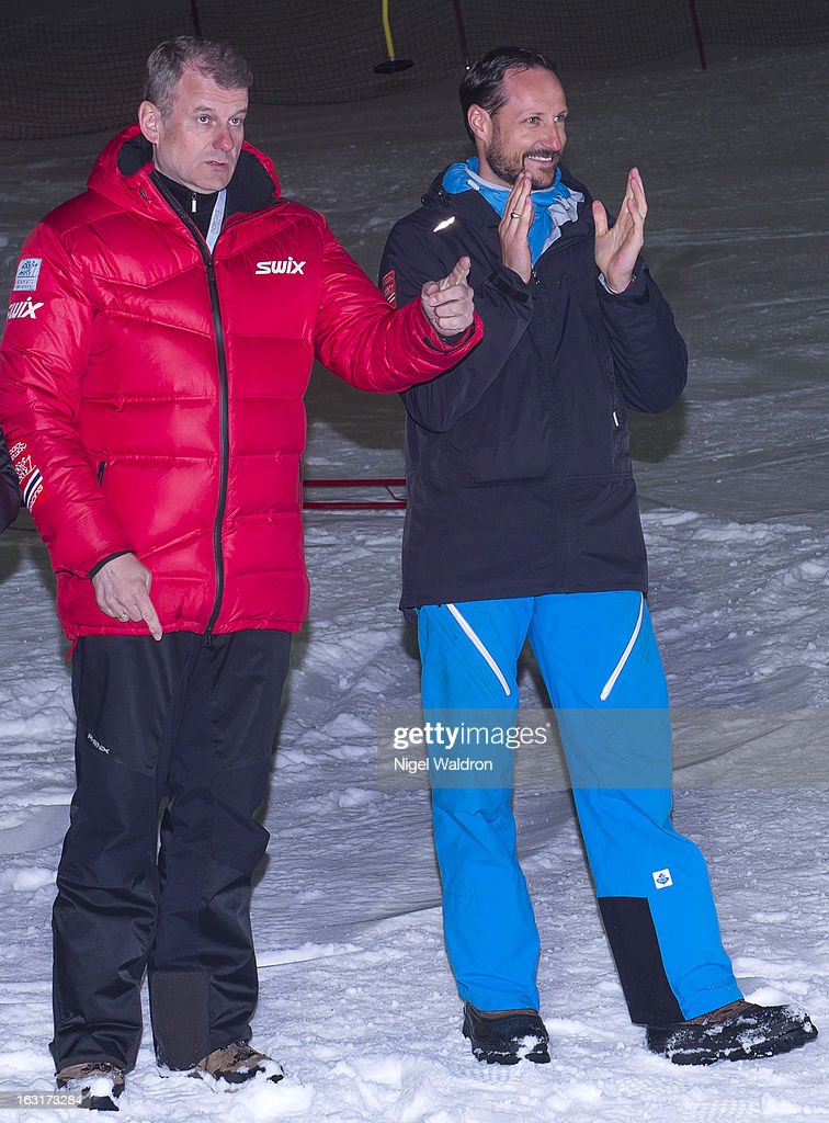 Mayor of Oslo Fabian Stang and Prince Haakon Magnus of Norway attend the World Freestyle Ski Championships on March 5, 2013 in Oslo Norway.