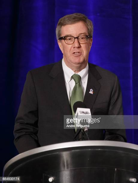 Mayor of Ottawa Jim Watson speaks during the 2017 Scotiabank NHL 100 Classic announcement at the Chateau Laurier on March 17 2017 in Ottawa Ontario...