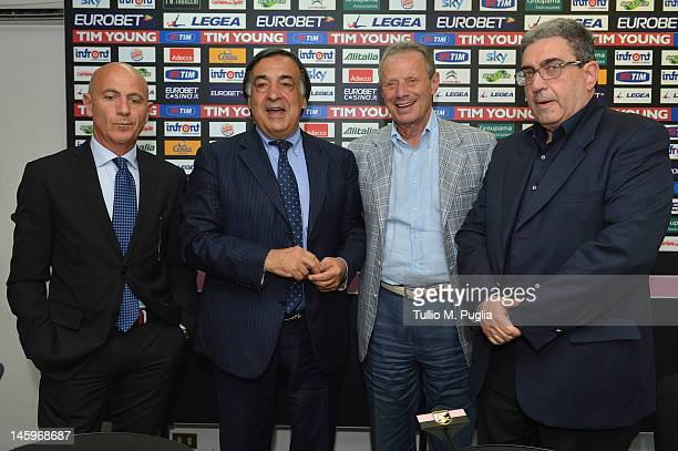 Mayor of Palermo Leoluca Orlando poses with President of Palermo Maurizio Zamparini new Coach Giuseppe Sannino and new Sport General Manager Giorgio...