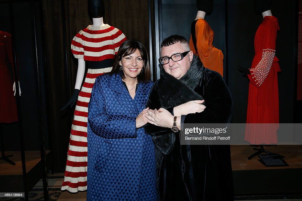 Mayor of Paris Anne Hidalgo and Fashion Designer Alber Elbaz attend the Jeanne Lanvin Retrospective : Opening Ceremony at Palais Galliera on March 6, 2015 in Paris, France.
