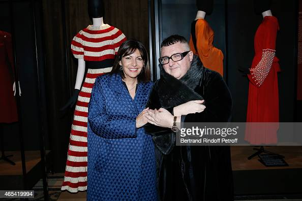 Mayor of Paris Anne Hidalgo and Fashion Designer Alber Elbaz attend the Jeanne Lanvin Retrospective Opening Ceremony at Palais Galliera on March 6...