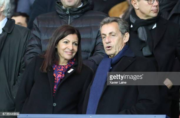 Mayor of Paris Anne Hidalgo and former French president Nicolas Sarkozy attend the French Cup SemiFinal match between Paris SaintGermain and As...
