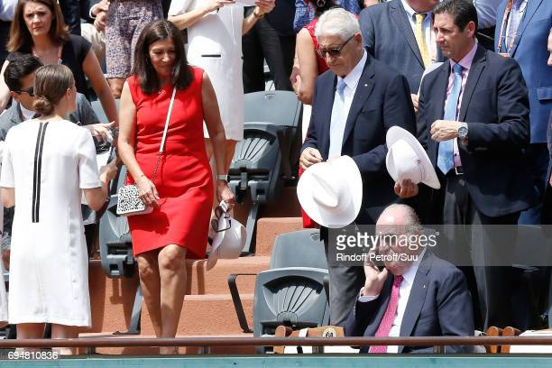 Mayor of Paris Anne Hidalgo and Former King of Spain Juan Carlos 1er attend the Men Final of the 2017 French Tennis Open Day Fithteen at Roland...