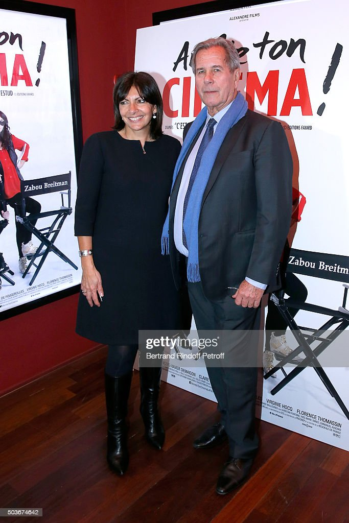 Mayor of Paris Anne Hidalgo and Jean-Louis Debre attend the 'Arrete Ton Cinema !' Paris Premiere at Publicis Champs Elysees on January 6, 2016 in Paris, France.