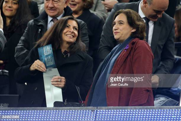 Mayor of Paris Anne Hidalgo and mayor of Barcelona Ada Colau Ballano attend the UEFA Champions League Round of 16 second leg match between FC...