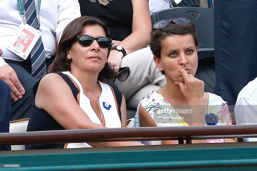 Mayor of Paris <a gi-track='captionPersonalityLinkClicked' href=/galleries/search?phrase=Anne+Hidalgo&family=editorial&specificpeople=590989 ng-click='$event.stopPropagation()'>Anne Hidalgo</a> and Minister of Women's Rights, the City and the Youth and Sports <a gi-track='captionPersonalityLinkClicked' href=/galleries/search?phrase=Najat+Vallaud-Belkacem&family=editorial&specificpeople=4115928 ng-click='$event.stopPropagation()'>Najat Vallaud-Belkacem</a> attend the Men's Final of Roland Garros French Tennis Open 2014 - Day 15 on June 8, 2014 in Paris, France.