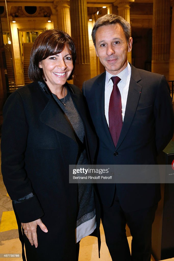 Mayor of Paris, <a gi-track='captionPersonalityLinkClicked' href=/galleries/search?phrase=Anne+Hidalgo&family=editorial&specificpeople=590989 ng-click='$event.stopPropagation()'>Anne Hidalgo</a> and President of Monnaie de Paris attend the Monnaie De Paris : Reopening Party with Opening of the McCarthy Exhibition, on October 23, 2014 in Paris, France.