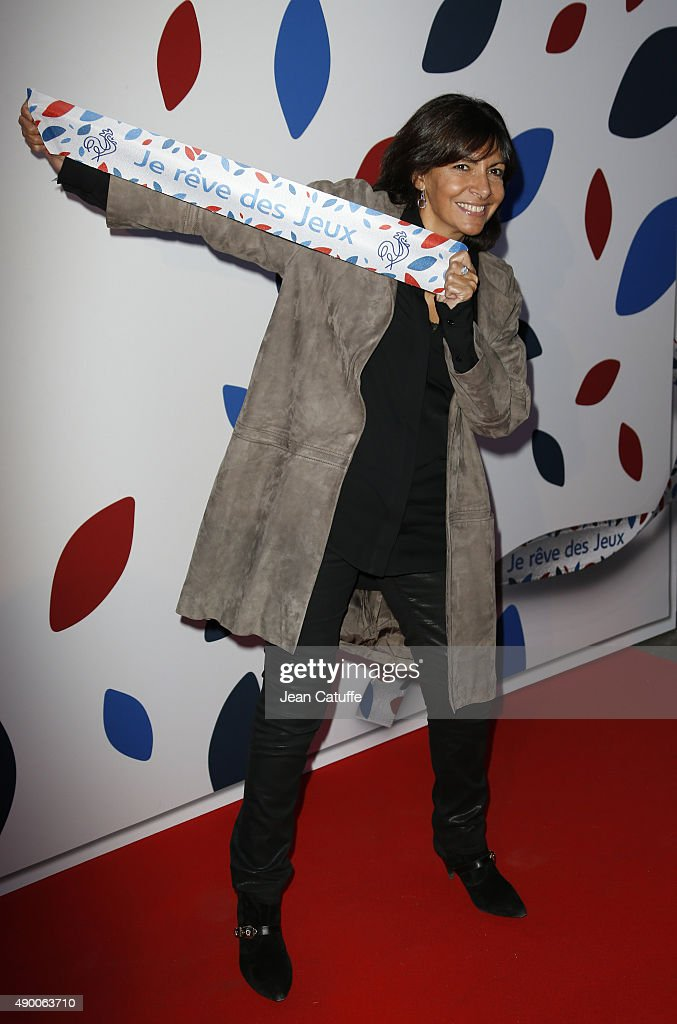Mayor of Paris Anne Hidalgo attends the launch party for 'Je Reve Des Jeux', a campaign to promote Paris' bid for the Olympic Games in 2024 at 'Maison du Sport Francais', house of the CNOSF (French Olympic Committee) on September 25, 2015 in Paris, France.