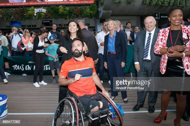 Mayor of Paris Anne Hidalgo French Secretary of State for Handicapped Persons Sophie Cluzel President of French Tennis Federation Bernard Giudicelli...